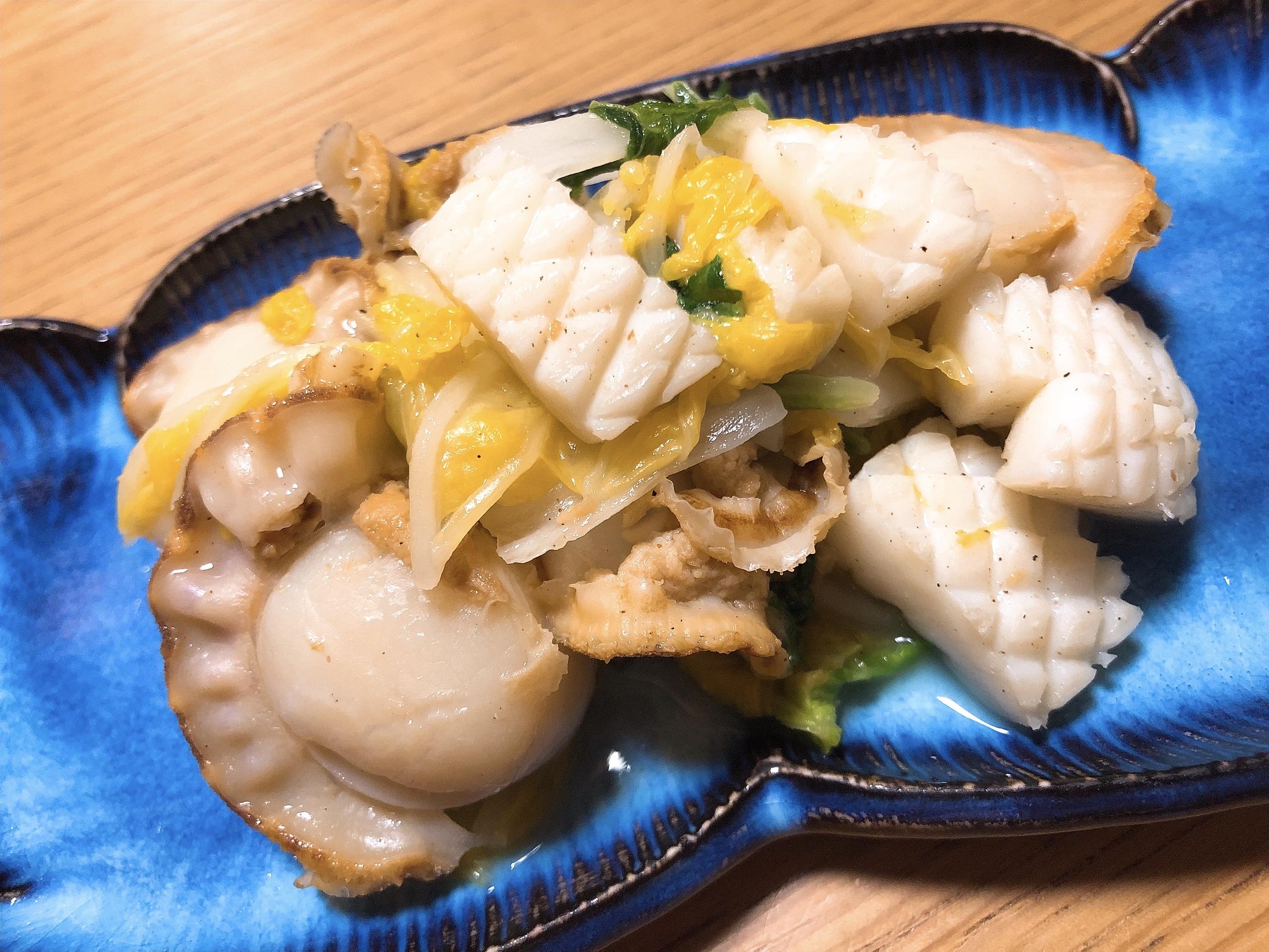 ホタテとイカの白菜蒸し(ダイエットメニュー)